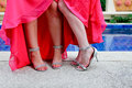 Bridesmaids shoes close up of by the swimming pool Royalty Free Stock Photo