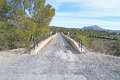 A bridge on the abandoned via verde railway line which is now cycle track and is in the mountains overlooking agost and alicante Stock Photo