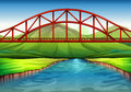 A bridge above the river illustration of Royalty Free Stock Images