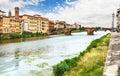 Bridge across the Arno in Florence. Royalty Free Stock Photo