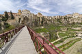 Bridge across the huecar gorge to cuenca medieval town of is built on a rocky outcrop at hoz de a formed at join of jucar and Royalty Free Stock Photography