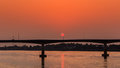 Bridge across the Mekong River at sunset. Thai-Lao friendship br Royalty Free Stock Photo
