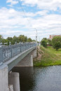 Bridge across the river, city Kolomna Royalty Free Stock Photos