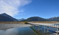 Bridge across the river this picture taken from rural area of south island new zealand Royalty Free Stock Photo