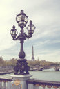 Bridge of Alexandre III against the Eiffel Tower in Paris, France. Royalty Free Stock Photo
