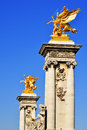 Bridge of alexandre iii over seine river in paris france Royalty Free Stock Photography