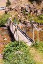 Bridge and Assy plateau in Tien-Shan mountain  in Almaty, Kazakhstan,Asia at summer Royalty Free Stock Photo