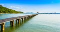 Bridge on beach and sea wave in asia ocean rayong thailand Stock Photo