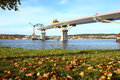 Bridge build an autumn day crossing the bay are almost complete city of sundsvall sweden Stock Images