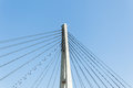 Bridge cable structure closeup section detail of concrete column pedestrian in blue sky Royalty Free Stock Photo