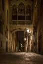 Bridge at carrer del bisbe in barri gotic barcelona Royalty Free Stock Image
