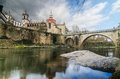Bridge and cathedral of saint goncalo in amarante portugal Royalty Free Stock Images