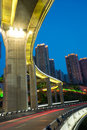 Bridge with city night scape,chongqing,china Royalty Free Stock Images