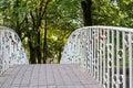 Bridge in city park. railings with hanging love locks. Royalty Free Stock Photo