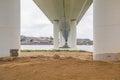 Bridge construction concrete support pillars columns seen from below low Royalty Free Stock Photo