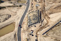 Bridge construction overhead view of in a desert creek bed Royalty Free Stock Photos