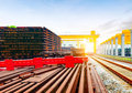 The bridge crane and cargo yard Royalty Free Stock Photo