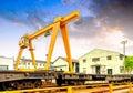 The bridge crane and cargo yard Royalty Free Stock Photo