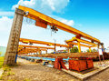 Bridge crane dock Royalty Free Stock Photo