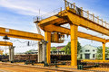 Bridge cranes and rails. Royalty Free Stock Photo