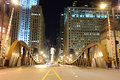 Bridge in downtown of chicago one Royalty Free Stock Photo