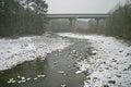 Bridge & Ducks in Snow Royalty Free Stock Photo