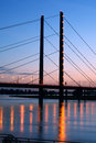 Bridge in dusseldorf germany night view to the across rhine river Royalty Free Stock Images