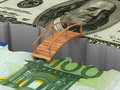 Bridge between euro and dollar Stock Images