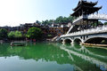 Bridge at fenghuang ancient town across the tuojiang river hunan province china oct Royalty Free Stock Images