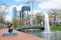 Bridge and  fountain on the canal in Rotterdam. Stock Images