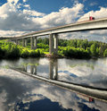 Bridge, highway and truck, landscape reflection Royalty Free Stock Images