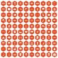 100 bridge icons hexagon orange