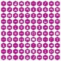 100 bridge icons hexagon violet