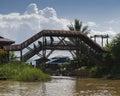 Bridge  on the Inle lake Royalty Free Stock Photo