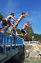Bridge Jumping into The Kaiteriteri Lagoon Royalty Free Stock Images