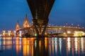 Bridge light refract on the river at bhumibol bangkok thailand Royalty Free Stock Image