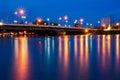 The bridge lights reflecting pool. phitsanulok  Stock Images