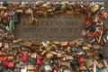 Bridge of love paddlock helsinki november padlocks from rakkauden sita karlekens bro representing secure friendship and romance in Royalty Free Stock Photos