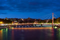 Bridge in Lyon at night Royalty Free Stock Photos