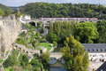 Bridge and medieval wall in Luxembourg Royalty Free Stock Image