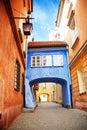 Bridge on narrow street in Warsaw Royalty Free Stock Photo
