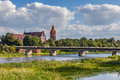 Bridge on nogat river malbork poland the summer day Stock Images