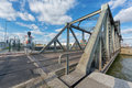 Bridge over antwerp lock the van cauwelaert in world port Stock Photo