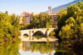Bridge over Arga  in summer day. Pamplona Royalty Free Stock Photo