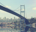 Bridge over bosphorus at sunset travel and business concept Stock Photography