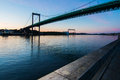 Bridge over calm waters sunset in gothenburg harbor Royalty Free Stock Image