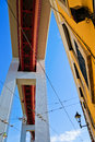 Bridge over the city ponte de abril in lisbon portugal seen in bottom view at a house Stock Photography