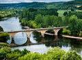 Bridge over the Dordogne river Royalty Free Stock Photos