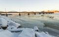 Bridge over frozen river in umeå sweden umea Royalty Free Stock Photo