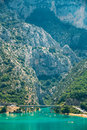 Bridge over the Lake of Sainte-Croix in France. Verdon Gorge Royalty Free Stock Photo